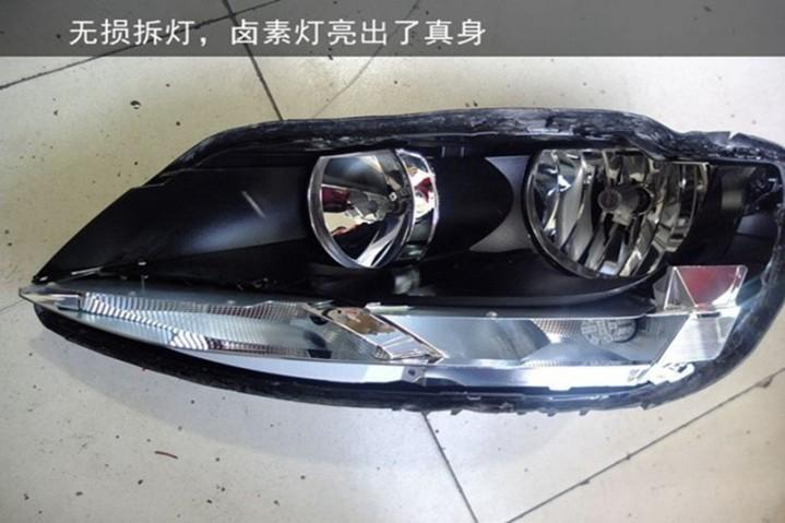 南京速腾大灯改装双氙气透镜 改后实用美观