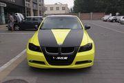 宝马320i全车柠檬黄局部碳纤黑车身改色